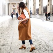 bag,brown vest,long vest,chloe faye bag,chloe bag,brown bag,vest,jeans,blue jeans,mules,suede mules,streetwear,fall outfits