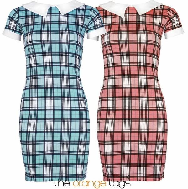 dress vintage retro peterpan old school tartan pink short dress cute lovely girlie trendy check print peter pan collar light blue