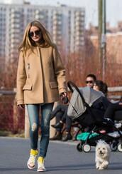 jacket,coat,jeans,blogger,streetstyle,sneakers,denim,olivia palermo,shoes,beige coat