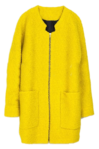 Pocketed zippered yellow coat, the latest street fashion