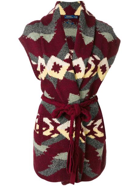 Polo Ralph Lauren cardigan cardigan sleeveless women cotton wool red sweater
