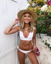 swimwear,bikini,swimwear two piece,white swimwear,chain necklace,straw hat