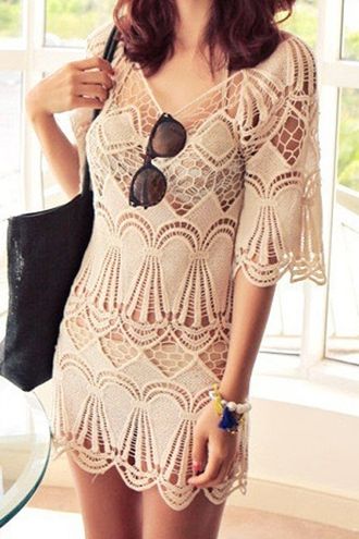dress floral sexy top shirt women elegant beach summer hollow glass casual lace tshirt bottle party dress
