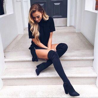 dress black fitting tight slim t-shirt dress zip slit