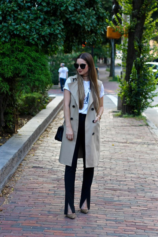 lamariposa blogger coat shirt pants shoes bag sunglasses trench coat fall outfits pumps sleeveless coat t-shirt