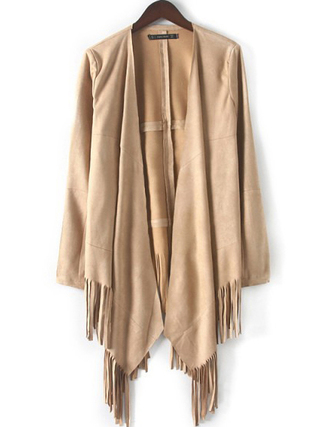 cardigan brenda shop jacket fringes fringed jacket suede open front kimono