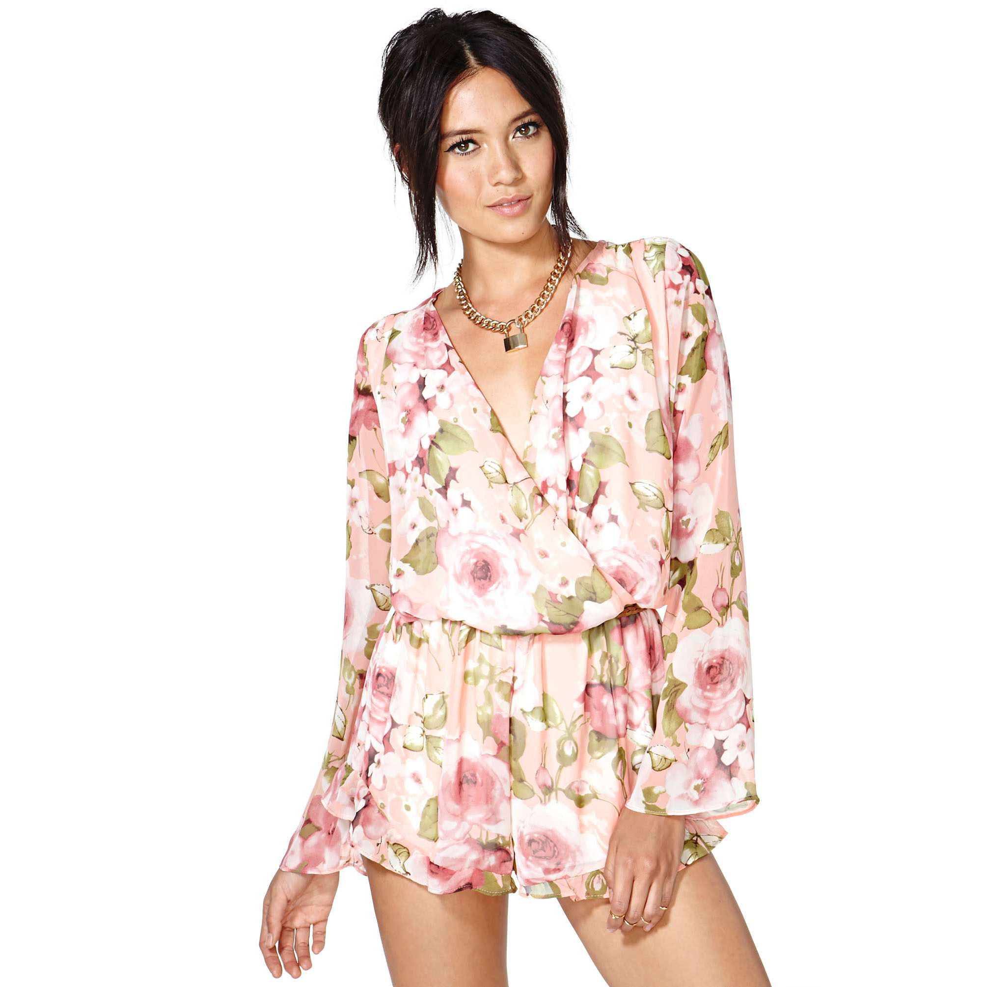 2014 Summer Fashion flower print chiffon  deep V neck long sleeve Shirt & Shorts jumpsuit Jumpsuits-inJumpsuits & Rompers from Apparel & Accessories on Aliexpress.com