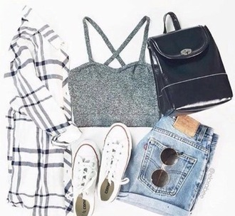 tank top grunge summer fall outfits flannel bralette bag purse denim converse outfit weheartit tumblr white lingerie gray black indie hippie hipster boho