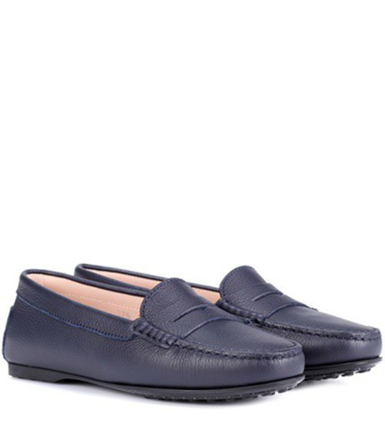 TOD'S loafers leather blue shoes