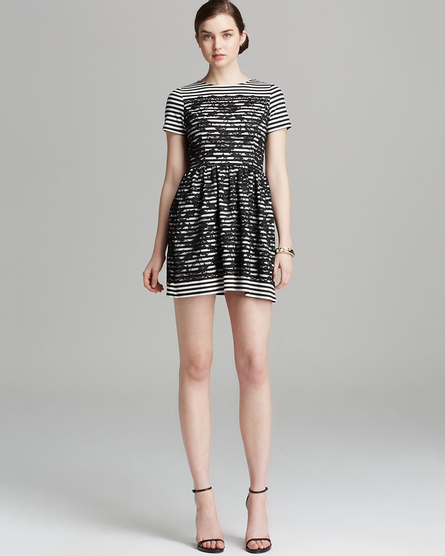 AQUA Dress - Stripe Ponte Lace Overlay Short Sleeve | Bloomingdale's