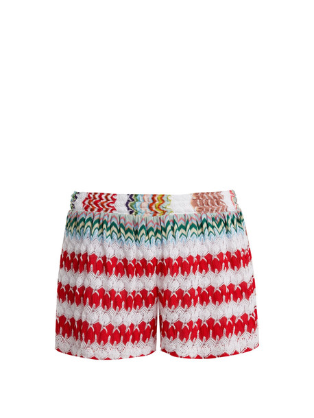 shorts high knit white red