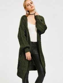 Loose Cable Knit Open Front Cardigan