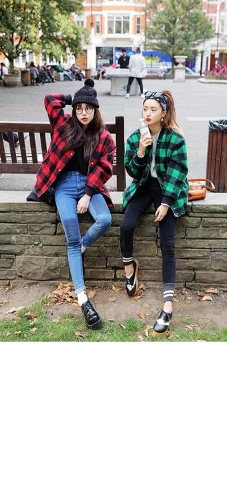 jacket stylenanda green tartan tartan coat winter outfits outerwear warm skater