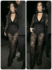 jumpsuit,lace,all black everything,see through,kourtney kardashian,grammys 2016,black,underwear,edgy,jewels,kardashians,keeping up with the kardashians,celebrity style,celebrity,celebstyle for less,necklace,choker necklace,black choker,black velvet choker