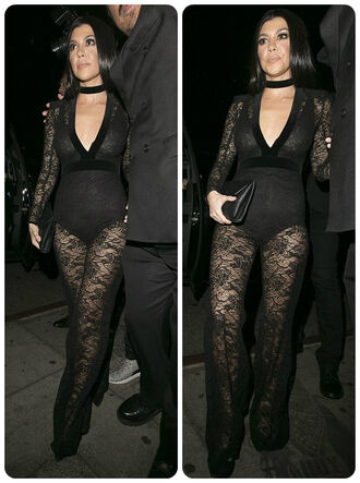 jumpsuit lace all black everything see through kourtney kardashian grammys 2016 black underwear edgy jewels kardashians keeping up with the kardashians celebrity style celebrity celebstyle for less necklace choker necklace black choker black velvet choker