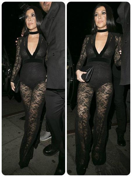 47c6fc8d8c72 jumpsuit lace all black everything see through kourtney kardashian grammys  2016 black underwear edgy jewels kardashians