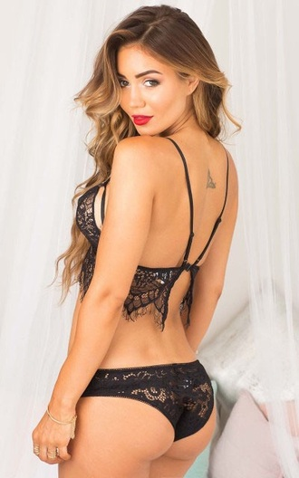 underwear top bra crop tops trendy black lace sexy hot musheng