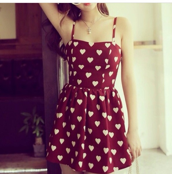 heart vintage whitehearts red dress flo dress