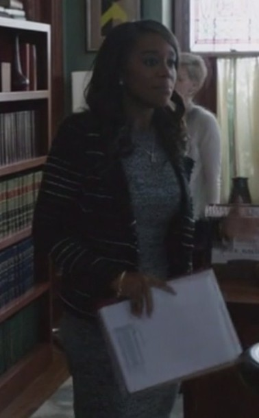 jacket how to get away with murder Aja Naomi King Michaela Pratt dress long sleeves midi dress knit