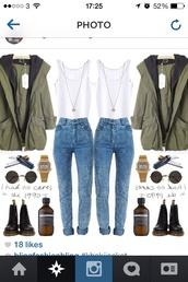 jacket,Khaki coat,acid wash,white,grunge,green,cute,combat boots,shoes,jeans,tank top