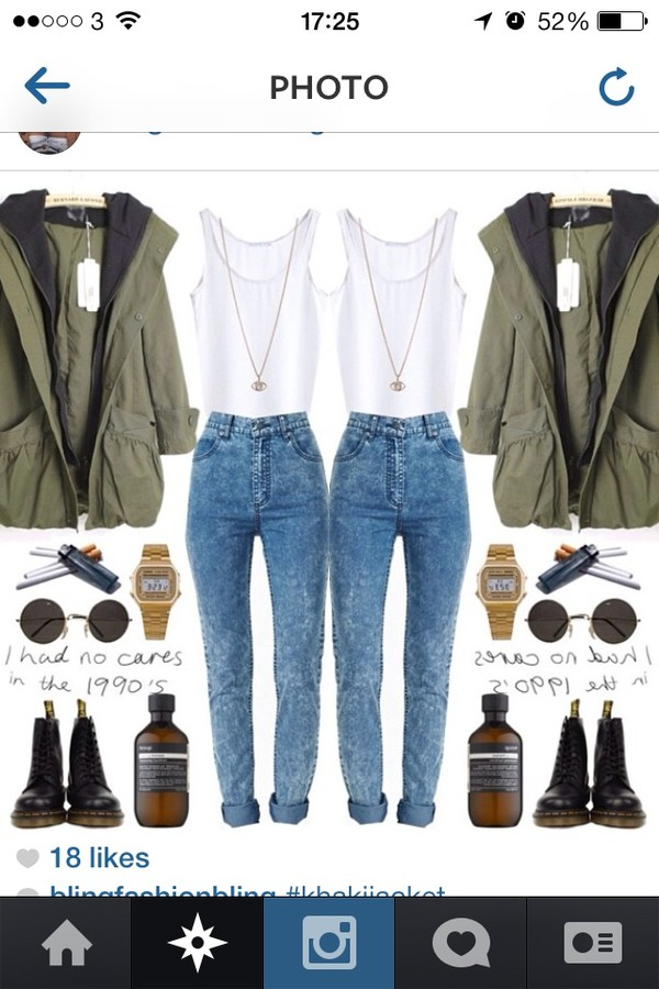 jacket Khaki coat acid wash white grunge green cute combat boots shoes jeans tank top