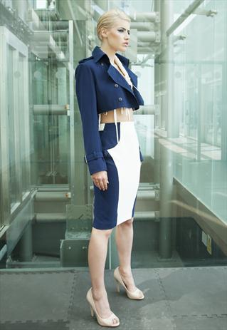Navy Cropped Buckle Jacket With Metal Buttons | Yan Neo London Boutique | ASOS Marketplace