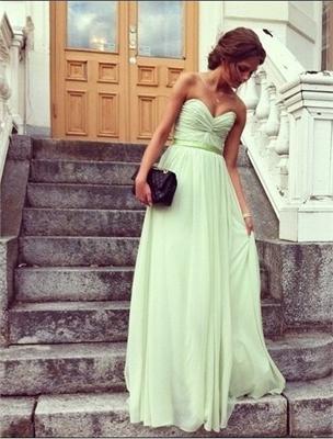 Best seller A-line strapless v-neck sage sash chiffon Prom Dresses PDM353