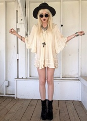dress,blouse,sunglasses,soft grunge,boots,gothic dress,cream dress,floral dress,cute dress,indie rock,short dress,white dress,cream,grunge,dark,lolita dress,pinterest,white,lace,summer,preppy,preppy dress,black,sun hat,indie,hipster,weird,hat,jewels,pastel goth,blouse creme,black hat,round frame glasses