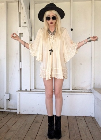 dress blouse sunglasses soft grunge boots gothic dress cream dress floral dress cute dress indie rock short dress white dress cream grunge dark lolita dress hat floppy hat summer sun hat black girl goth white lace weird witch peace hipster pastel goth blouse creme black hat round frame glasses
