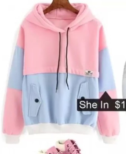 Sweater: pink, blue, white - Wheretoget