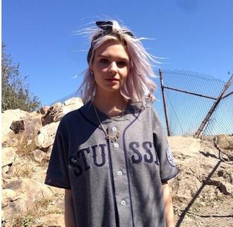 stussy baseball baseball jacket grey baseball shirt unisex unisex t shirt hipster