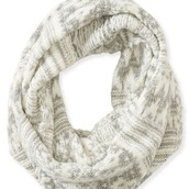 scarf,grey,white,fair isle,infinity scarf,knitted scarf