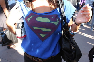 t-shirt clothes superman blue top nice cool