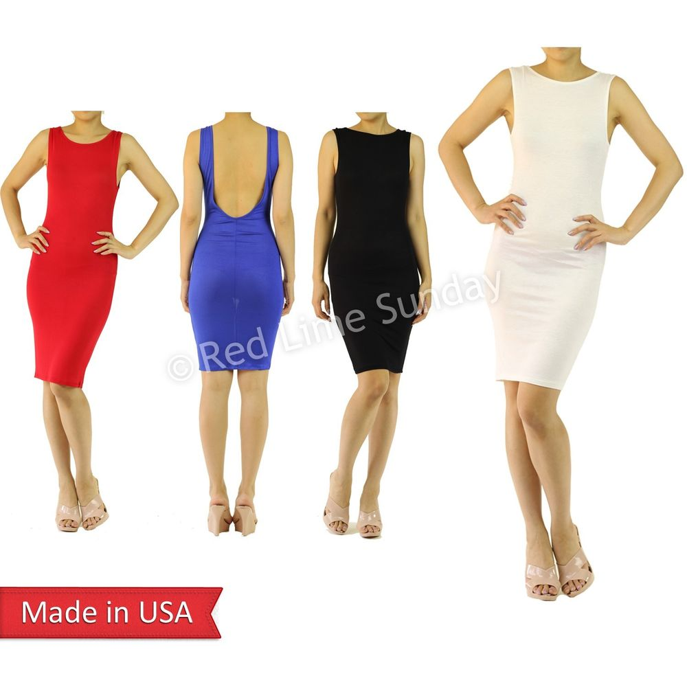 New Women Lightweight Solid Color Sleeveless Knee Length Summer Tank Dress USA