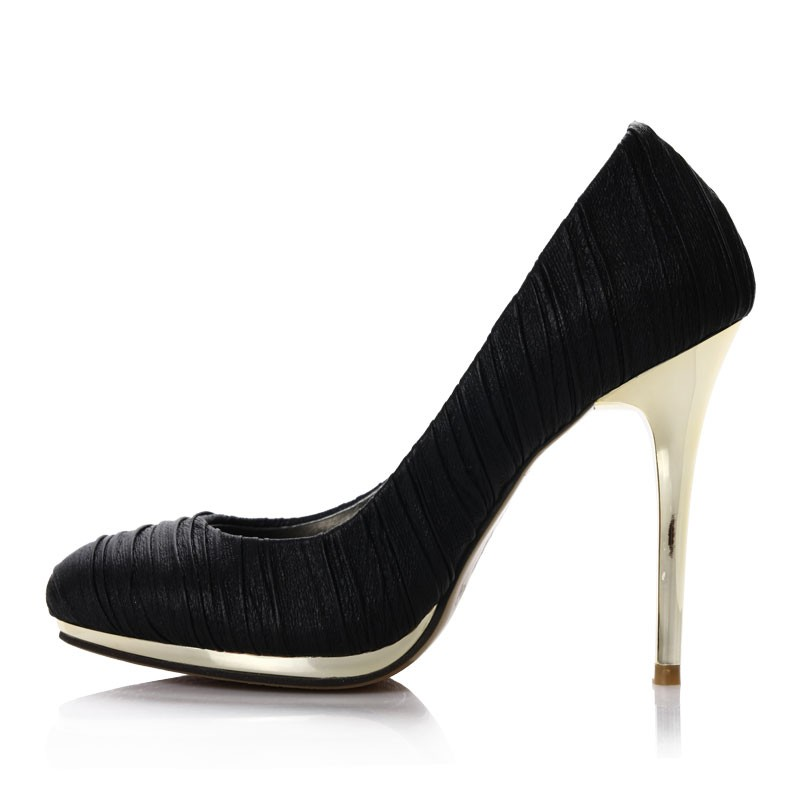 Ball Black Ruched Leather Gold Heel Dress Shoes