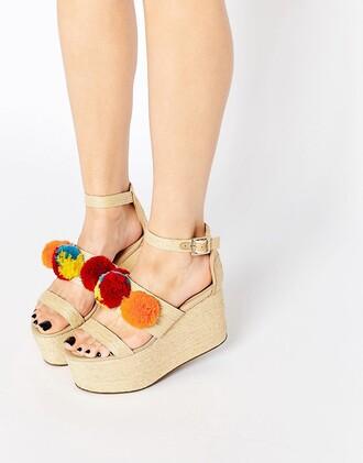 shoes flatforms platform shoes flats pom poms strappy
