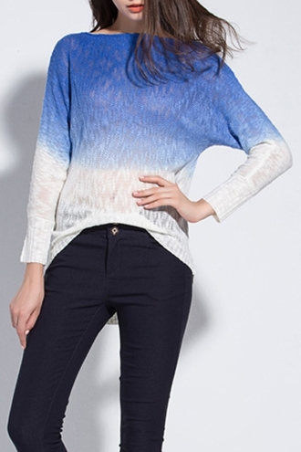 sweater ombre blue fashion cool stylish gradient long sleeves fall outfits casual trendy clothes winter outfits