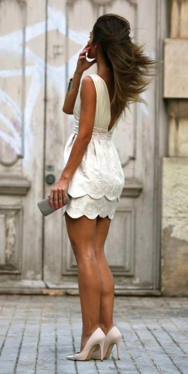 dress white fashion scalloped dress white dress semi formal sweet 16 short party dresses scalloped edge short dress summer summer dress