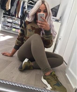 top khaki adidas sweatshirt camouflage