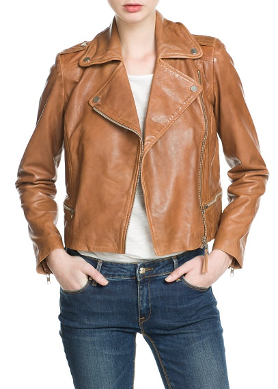 MANGO - NEW - Leather biker jacket