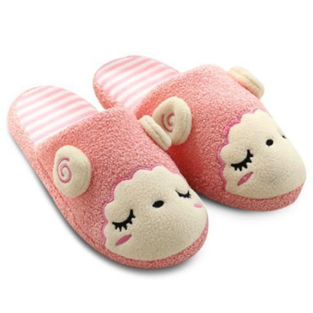 80cdadf5201db shoes slippers sheep cute kawaii pink fashion style sleepwear