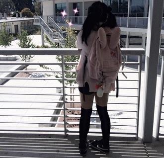 bag pink lolita bunny bunny ears backpack fluffy japan japanese fashion kawaii pastel pastel pink pastel bag pastel grunge kawaii pastel school bag backpack ulzzang anime anime fashion