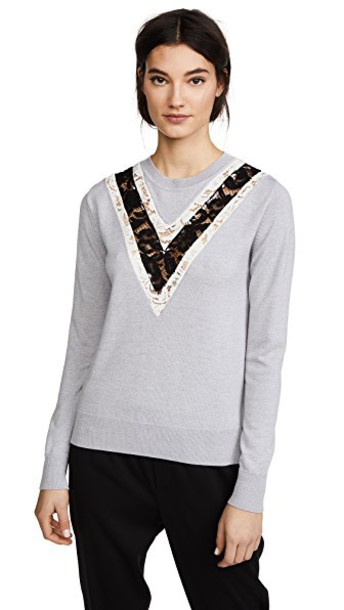 Adam Lippes sweater lace grey