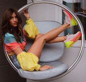 shoes,sneakers,top,shorts,denim shorts,colorful,neon,rocky barnes,instagram,blogger,festival,music festival,coachella