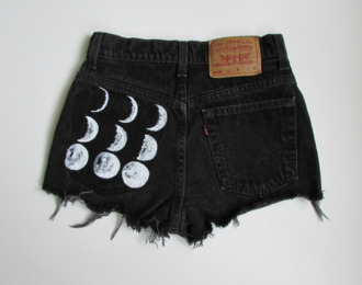 shorts high waisted shorts moon phases moon black hipster indie high waisted black shorts crescentmoon cut offs tumblr jeans high waisted denim shorts printed shorts printed high waist shorts levi's shorts moon phases shorts cut off shorts ripped denim phases of the moon pants lune noir soft grunge grunge shoes crescent moon hot pants white levi's brandy shades denim shorts black jean short black jeans weheartit cute phases space fashion eclipse fancy goth cool live love skinny short shorts cool girl style boho