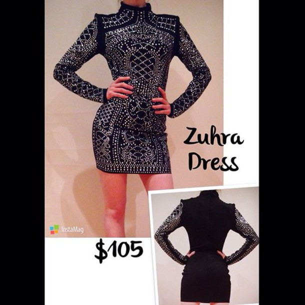 Dress: lost souls, studs, studded dress, black studded dress ...