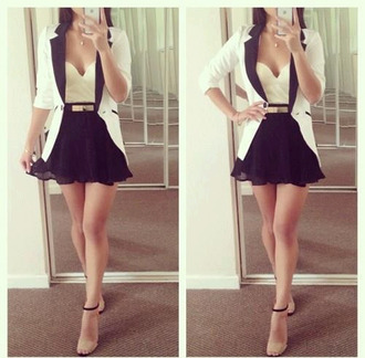 skirt high-waisted strapless top sweetheart neckline white blazer flare skirt jacket top cardigan