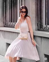 skirt,tumblr,midi skirt,pleated,pleated skirt,pink skirt,top,pink top,tank top,sunglasses,bag,nude bag