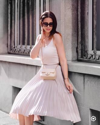 skirt tumblr midi skirt pleated pleated skirt pink skirt top pink top tank top sunglasses bag nude bag