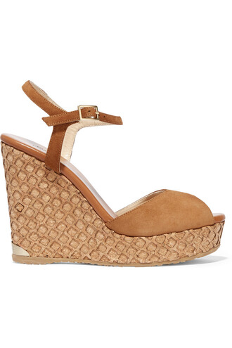 sandals wedge sandals suede tan neutral shoes
